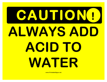 Caution Acid Water Sign