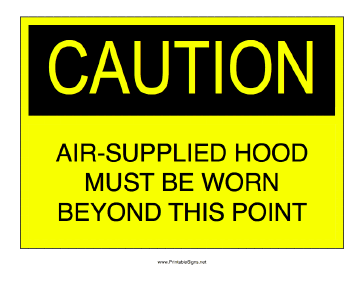 Air Supplied Hood Required Sign