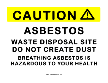 Asbestos Waste Disposal Sign