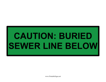 Caution Buried Sewer Line Sign