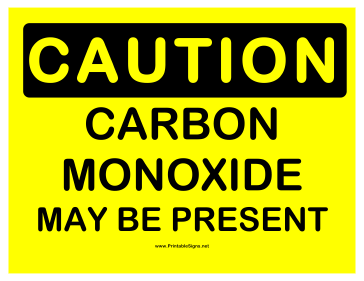 Caution Carbon Monoxide Sign