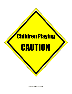 Caution Children Playing Sign