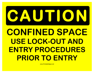 Caution Confined Space Procedures Sign