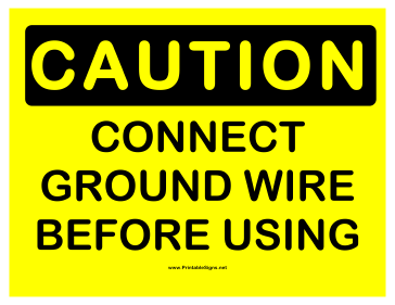 Caution Connect Ground Sign