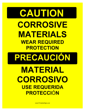 Corrosive Materials Bilingual Sign