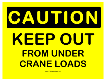 Caution Crane Loads Sign