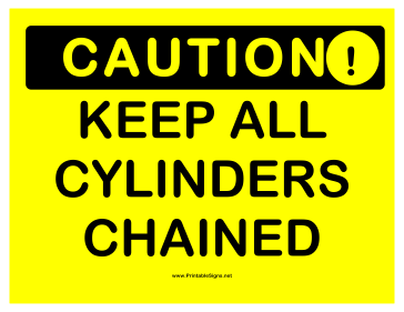 Caution Cylinders Chained Sign