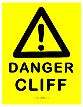 Danger Cliff Sign