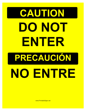 Do Not Enter Bilingual Sign