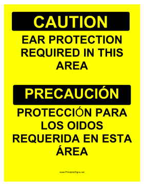 Ear Protection Bilingual Sign