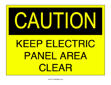 Keep Electric Panel Clear Sign
