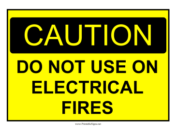 Caution Electrical Fire Hazard Sign Sign