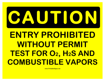 Caution Entry WO Permit Prohibited Sign