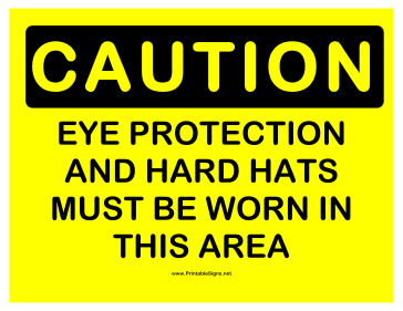 Caution Eye Protection 2 Sign