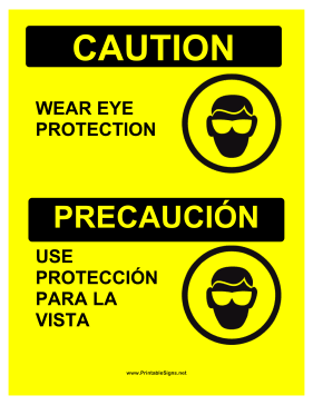 Eye Protection Bilingual Sign
