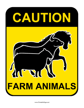 Caution Farm Animals Sign