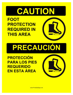 Foot Protection Required Bilingual Sign