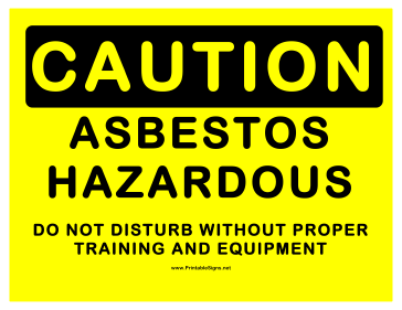 Caution Hazardous Asbestos Sign