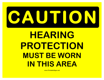 Caution Hearing Protection Sign