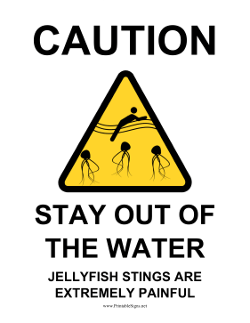 Caution Jellyfish Sign