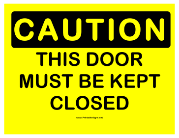 Caution Keep Door Closed Sign