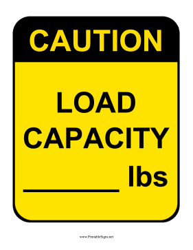 Caution Load Capacity Sign Sign