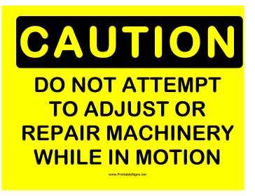 Caution Machinery Sign