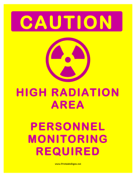 Personnel Monitoring Radiation Sign