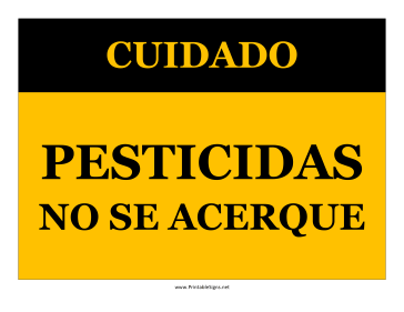 Caution Pesticides Keep Out-Spanish Sign