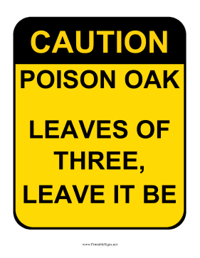 Caution Poison Oak Sign