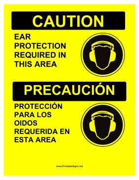 Required Ear Protection Bilingual Sign