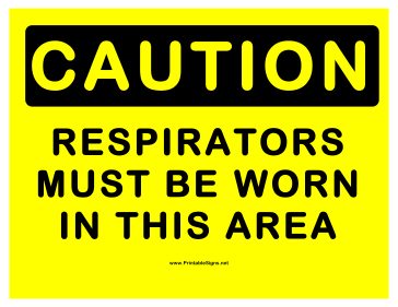 Caution Respirators Sign