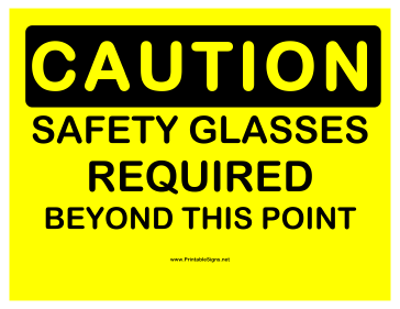Caution Safety Glasses Sign