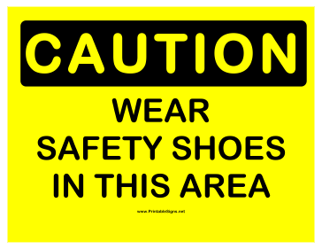 Caution Safety Shoes 2 Sign