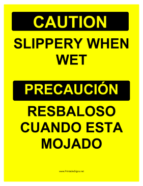 Slippery Bilingual Sign