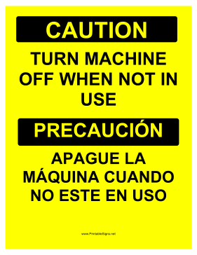 Turn Machine Off Bilingual Sign