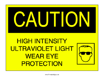 High Intensity Ultraviolet Light Sign