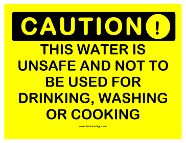 Caution Unsafe Water Sign