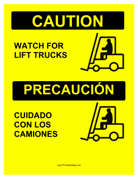 Watch For Forklifts Bilingual Sign