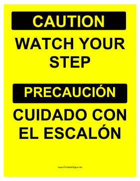 Watch Your Step Bilingual Sign
