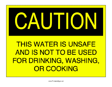 Unsafe Water Sign