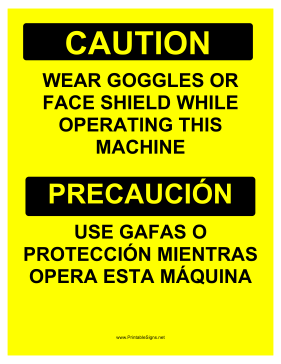 Wear Goggles Face Shield Bilingual Sign