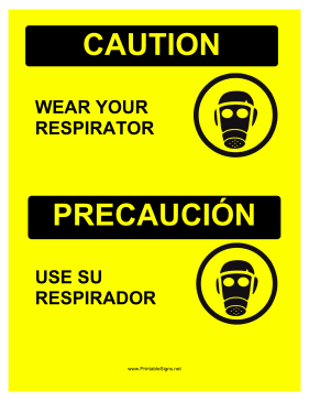 Wear Respirator Bilingual Sign