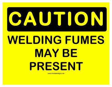Caution Welding Fumes Sign
