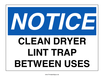 Clean Lint Trap Sign