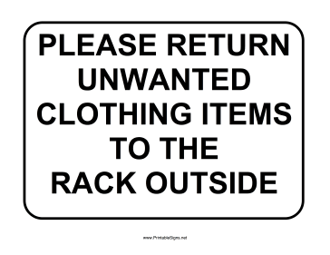 Clothing Return Sign Sign