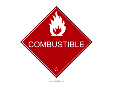 Combustible Warning Sign