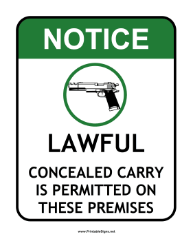 Concealed Carry Sign Sign