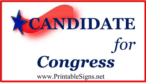 Congress Sign Palm Cards Sign