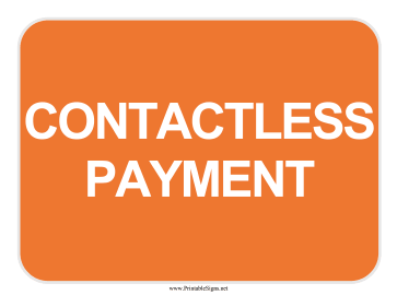 Contactless Payment Sign Sign